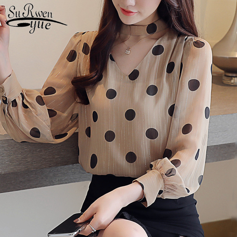 autumn long sleeve   shirt   women wave point chiffon   blouse     shirt   fashion woman   blouses   2019 V collar OL   blouse   women tops 1150 40