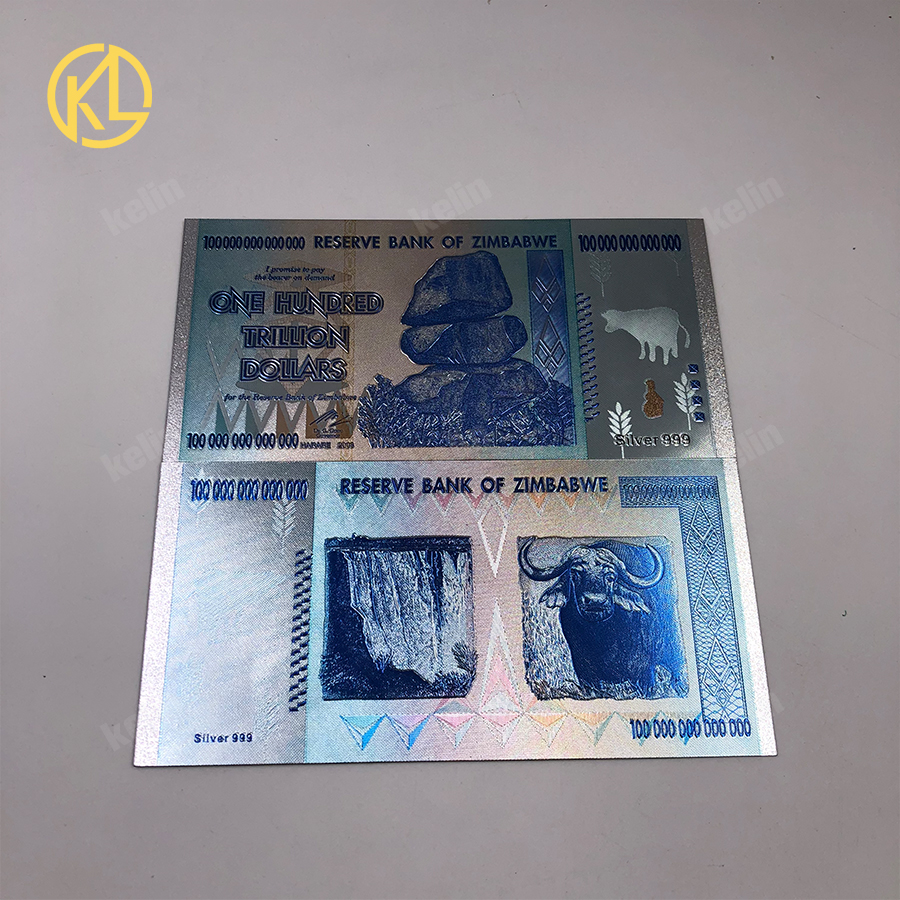 Us 49 5 10 Off 50pcs Lot Reserve Bank Of Zimbabwe 100 Trillion Dollars Silver 999 Banknote Fake Money For Collection In Gold Banknotes From