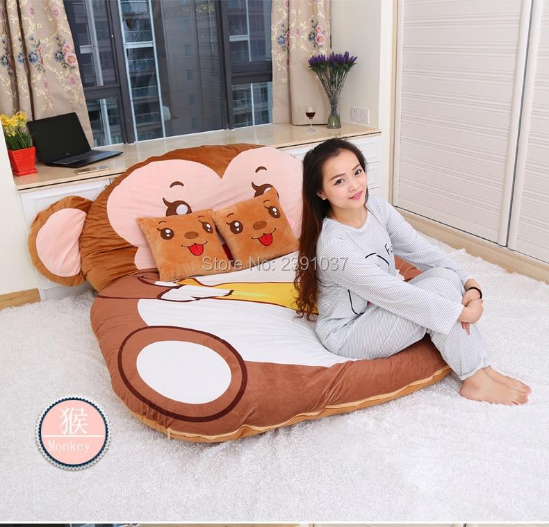 1.5x2m Cartoon Monkey Mattress for Children Chinese Zodiac double Tatami Sleeping Bed Beanbag Sofa Warm Cartoon Tatami Sleeping mattress