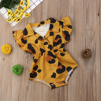 Summer Infant Newborn Baby Girl Clothing Leopard Heart Ruffles Baby Girls Rompers Valentine's Day Clothes For Baby Girl Summer 1