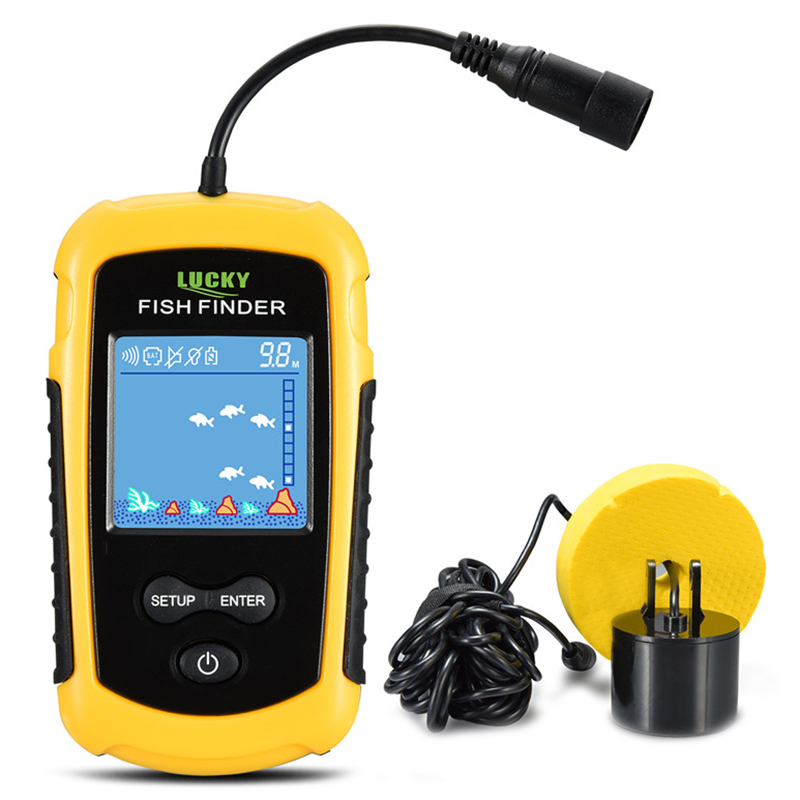 LUCKY FFC1108 - 1 Alarm 100M Portable Sonar White LED Fish Finders 2 Inch TN / ANTI-UV LCD Water Depth Fishing Finder