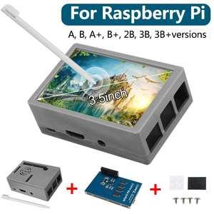 Image 3 - Dla Raspberry Pi 3 kolorowy ekran TFT Tou ch wyświetlacz LCD 3.5 cala + etui z ABS + pióro dotykowe Monitor LCD zestaw dla Raspberry Pi