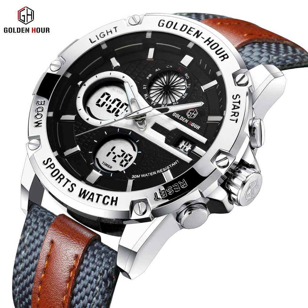 GOLDENHOUR Military Sport Digital Watch Men Dual Time LED Calendar Waterproof Quartz Watches Nylon Leather Strap Brand Luxury oulm military digital dual time watch men leather strap chronograph calendar alarm waterproof led electronic wrist watches 2018