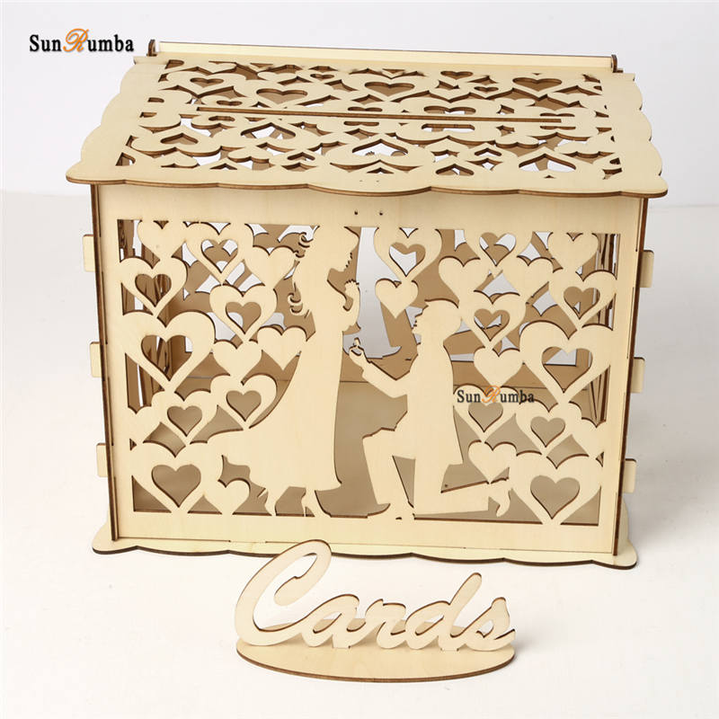 Wooden Wedding Card Box Holder DIY Vintage Decor Well Money Envelope Keepsake Boxes Gift Party Decoration