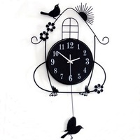 Adeeing Creative Living Room Wall Clocks Pastoral Bird Clock Black