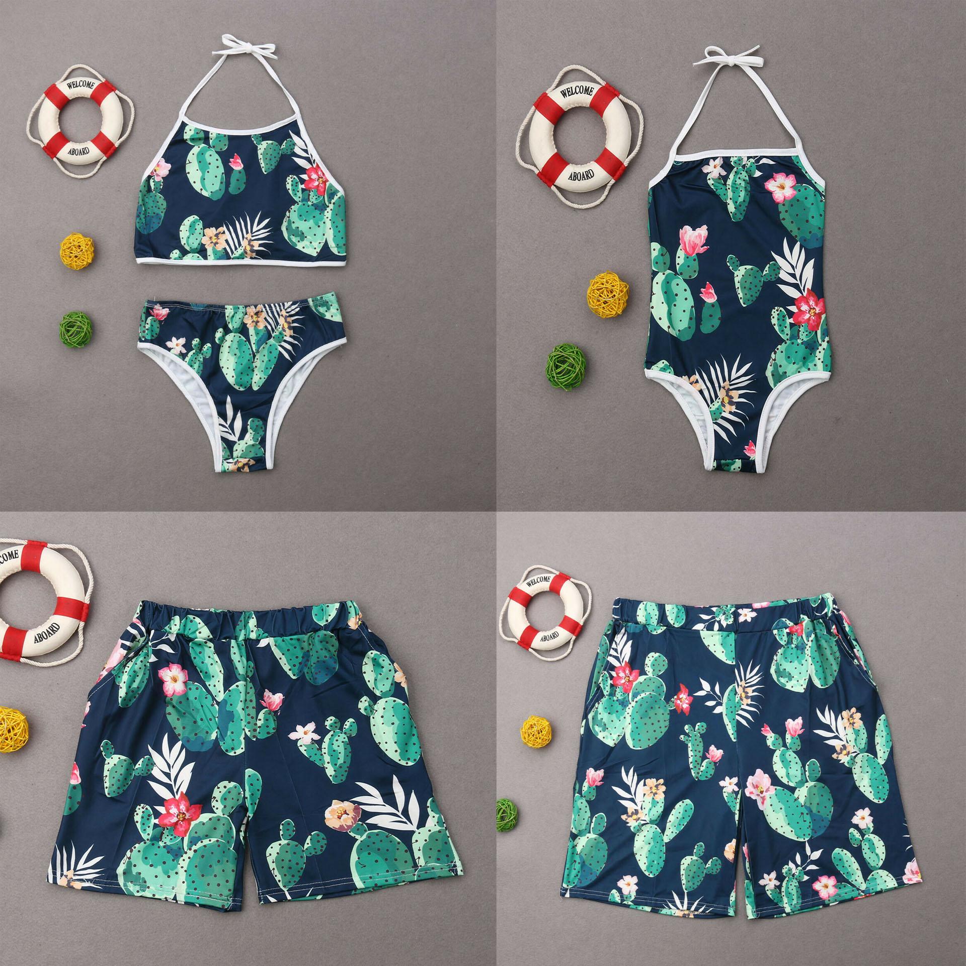Family Swimsuits Matching Dot Print Parent Child Two Pieces Bikini Set Swim Trunks