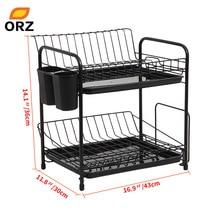 ORZ Dish Rack Set 2-Tier Chrome Kitchen Organizer Tools Plate Spoon Storage Frame Steel Drain Bowl Rack Kitchen Dish Shelf