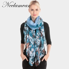 New Fashion Womens Scarf  flower Printing Scarves Lady polyester Cotton Long Shawl and Warm scarf