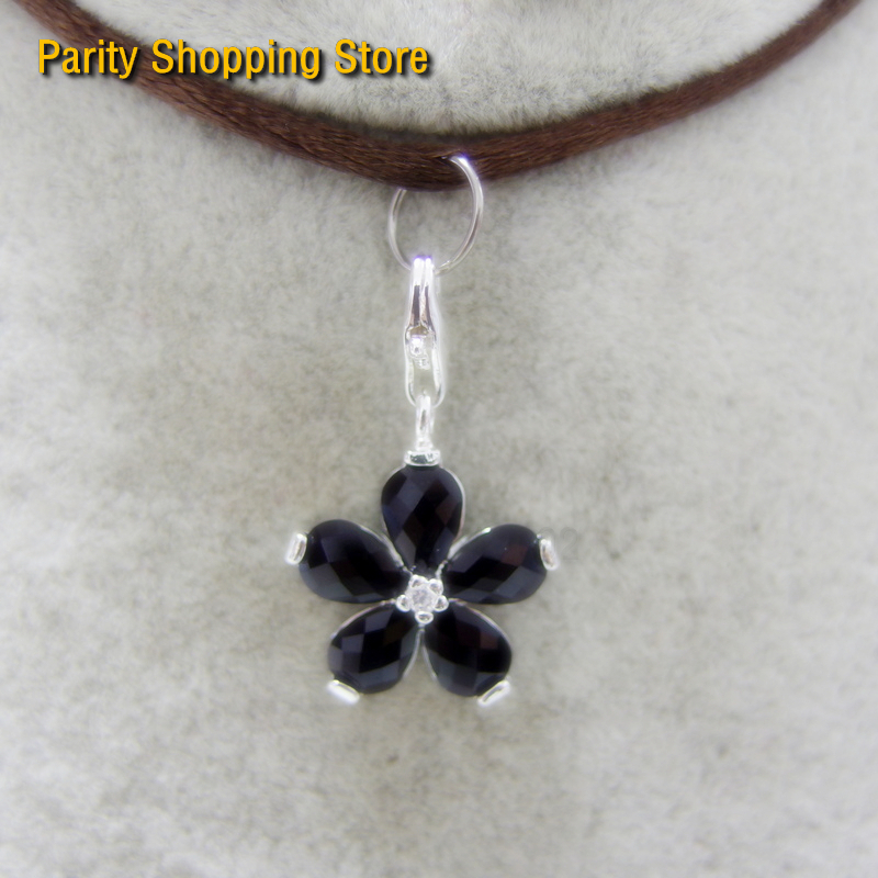 Charms Spirited Pt1179 Pendant Black Flower Charm Euro-american Style Good Jewelry In Ts925 Silver-plated Fit Bag Bracele Jewelry Sets & More