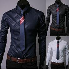 2019 New Brand Button Solid Formal Shirt Men Luxury Stylish Casual Dress Shirt Slim Fit Long