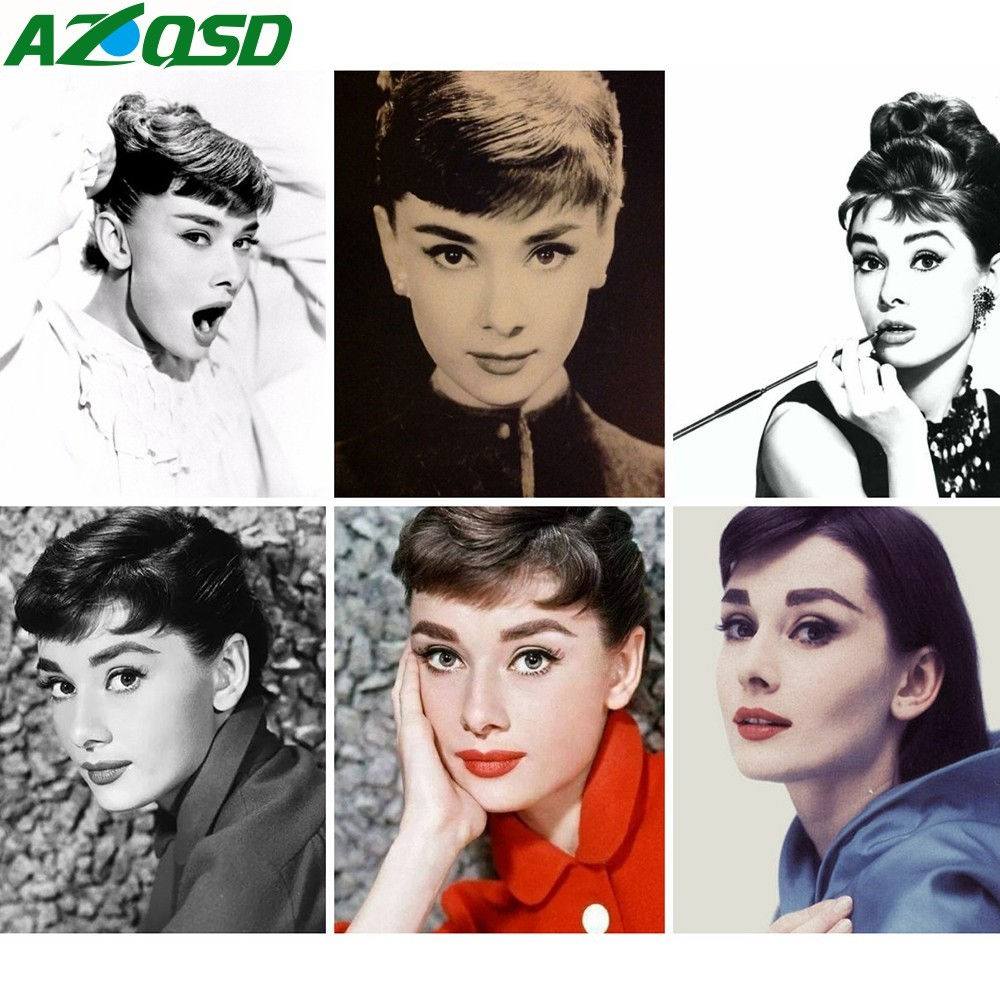 AZQSD Oil Painting By Number Acrylic Home Decor Oil Painting Audrey Hepburn Painting Drawing On Canvas Pictures DIY AbstractAZQSD Oil Painting By Number Acrylic Home Decor Oil Painting Audrey Hepburn Painting Drawing On Canvas Pictures DIY Abstract