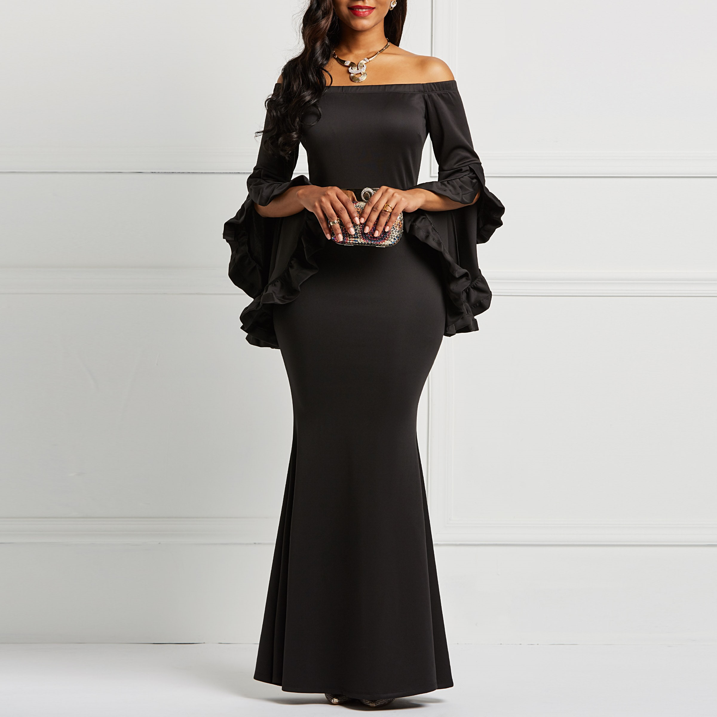 Clocolor Women Long Party Dress Elegant Black Ruffles Long Sleeve Bodycon Ladies New Year Evening Celebrity Inspired Dresses