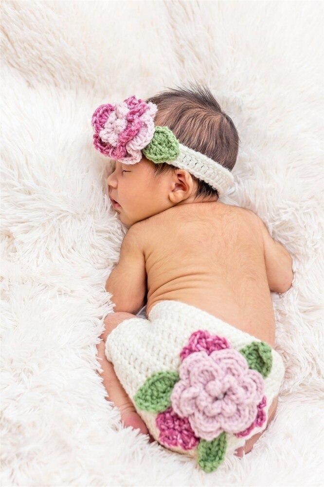 White Flowers Crochet Newborn Baby Girls Headband Knit Costume for Photo Shoot