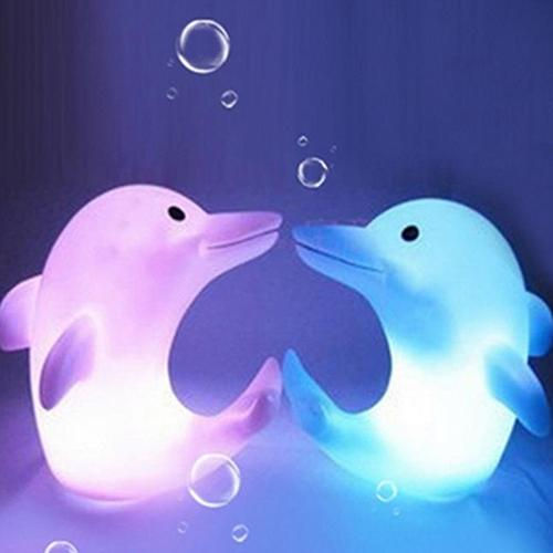 Cute Dolphin 7 Changing Colors LED Night Light Decoration Nightlight Children Kids Gift