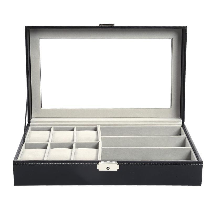 Multi-functional Watch Display Storage Box Sunglasses Organizer Watch Glasses Box Holder Black Jewelry Display Box  Jewelry