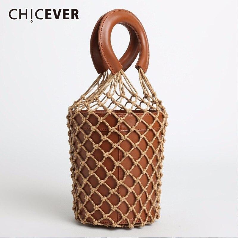 CHICEVER 2018 gant de mode pour femmes avec sac à main en cuir véritable grille Vintage Nylon Gril sac pour femmes accessoires de vêtements
