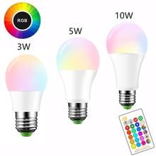 E27 LED 16 Color Changing RGB Magic Light Bulb Lamp 3/5/10W 85-265V 110V 120V 220V RGB Led Light Spotlight + IR Remote Control стоимость