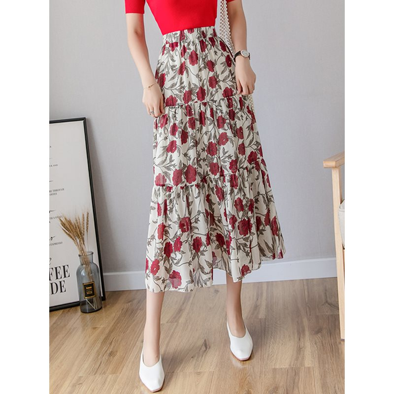 Summer Chiffon Elegant Beach Vintage Sweet Women Skirts White Aline High Waist Floral Print Korean Style Retro Female Skirts