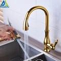 Латунный кухонный кран Матовый никель Высокий арочный кухонный кран для раковины выдвижной вращающийся Спрей Смеситель Torneira Cozinha - фото
