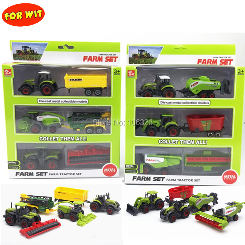 All Farm Tractor Set Great Play Collection Toy,Diecast Metal Vehicle <font><b>Car</b></font> <font><b>Model</b></font> with Plastic Part,Crop Cutter Sprayer Power Plant image
