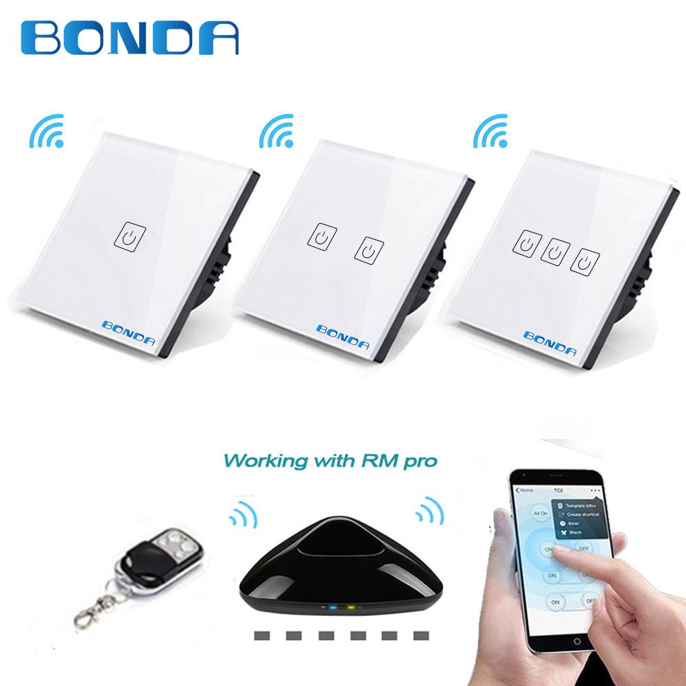 BONDA Genuine EU/UK Standard 1/2/3 Open W/B/G Wireless Remote Control Touch Luxury