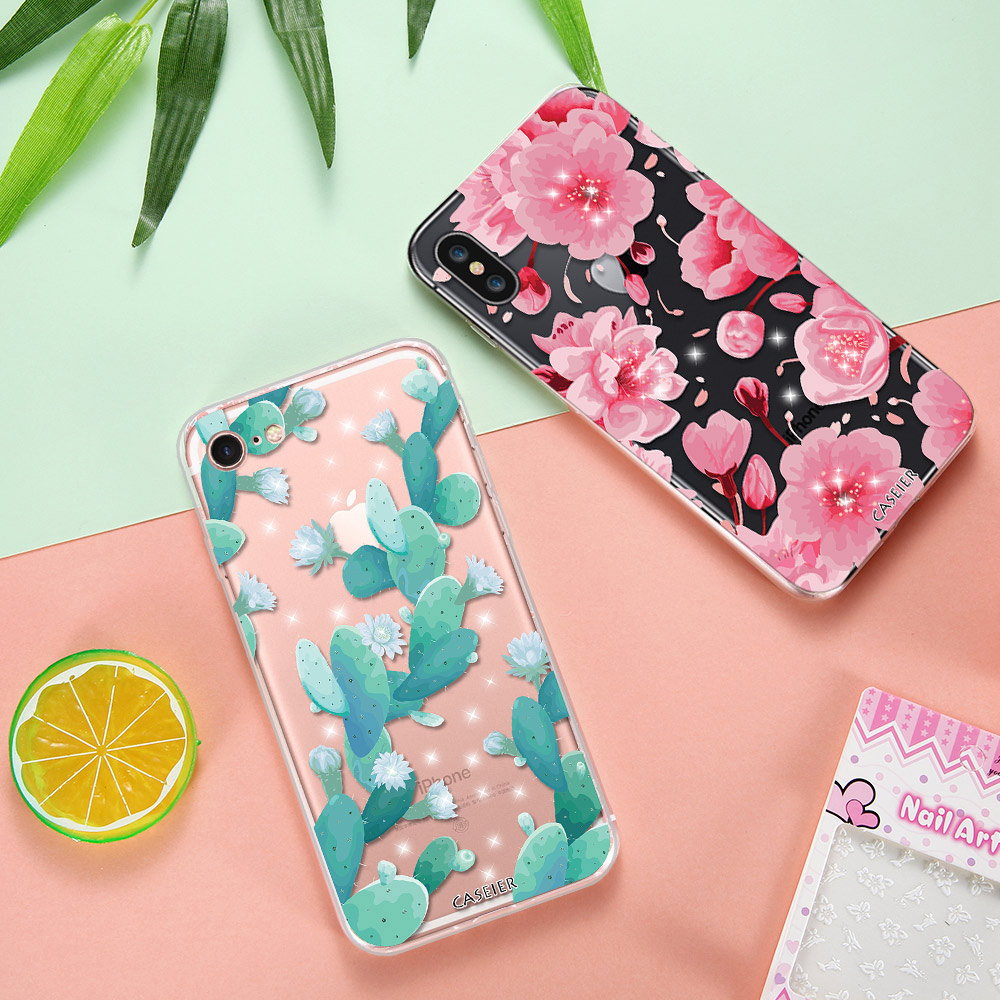 CASEIER Floral Patterned Case For iPhone 6s 7 Plus Cover Capa Soft Silicone Flower Protect Covers For iPhone 5 5s SE Phone Cases in Rhinestone Cases from Cellphones Telecommunications