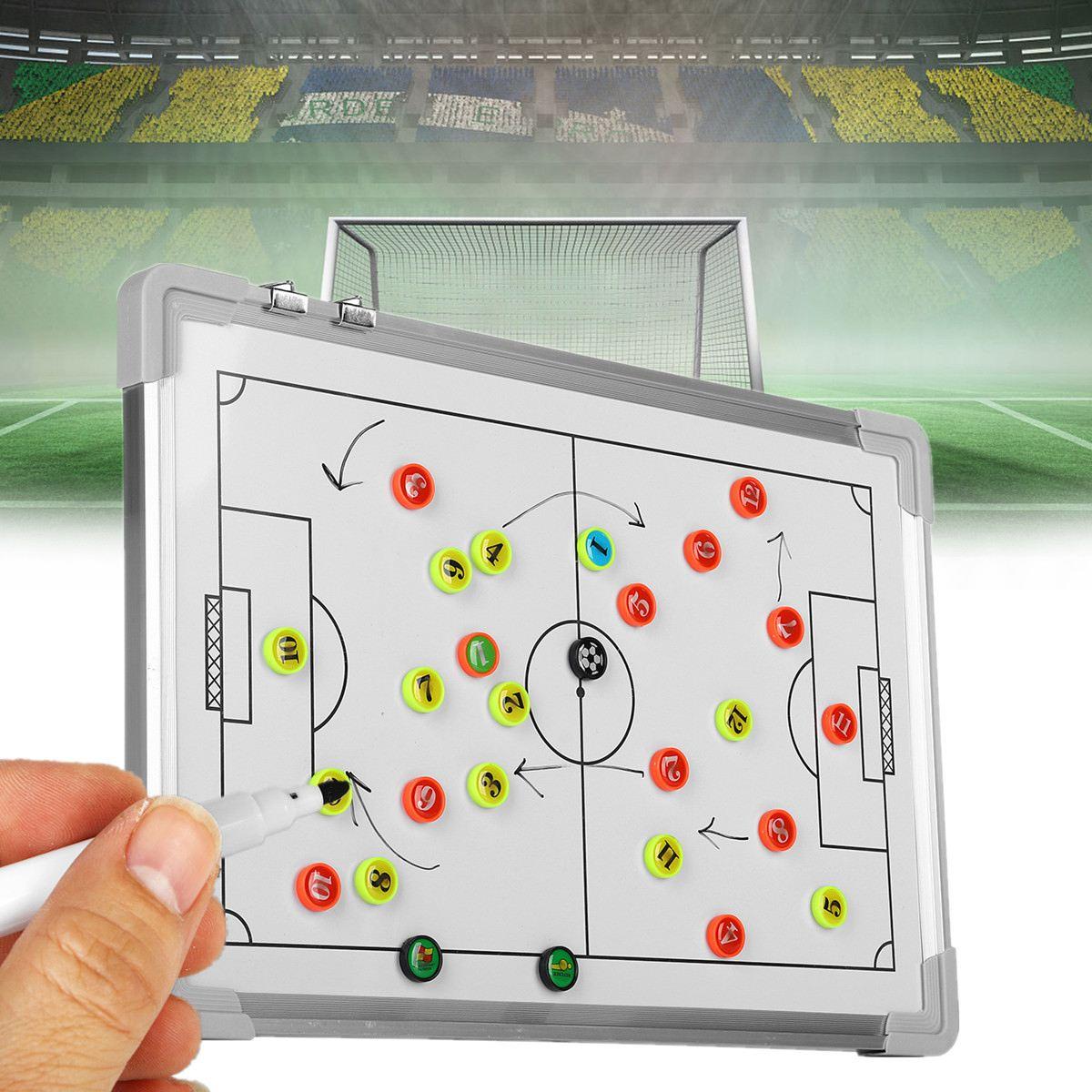 Magnetische Voetbal Tactische Board Training Begeleiding Opknoping Plaat Dubbelzijdige Rubber Hoeken 455x305x18mm Coaching Board Het Hele Systeem Versterken En Versterken
