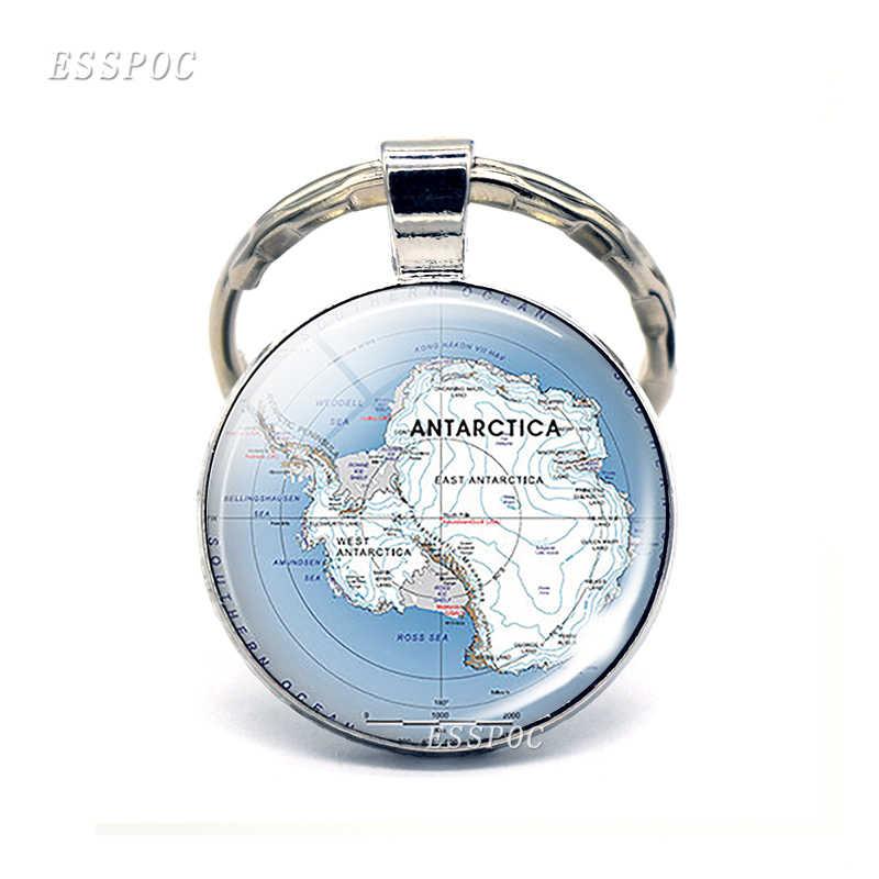 Винтажная карта мира стеклянный выпуклый брелок Южная Америка Австралия Африка Антарктика Европа кулон брелок кольца модный подарок