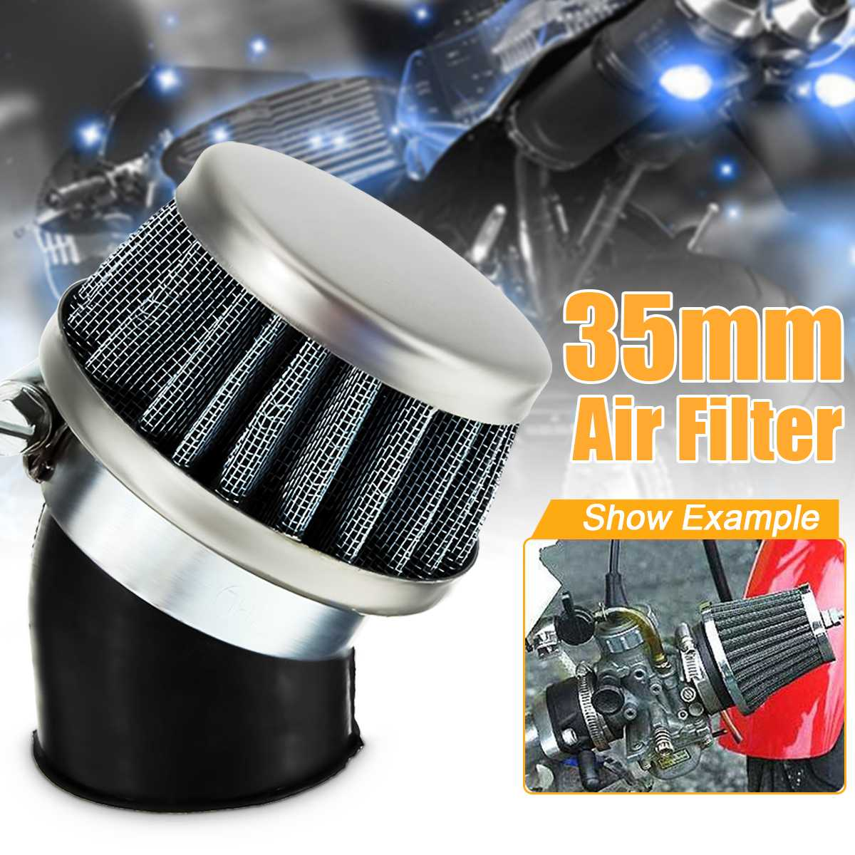 35mm Gauze Air Filter Bent Tube 50-110CC Motorcycle Scooter ATV Quad Dirt Pit Bike