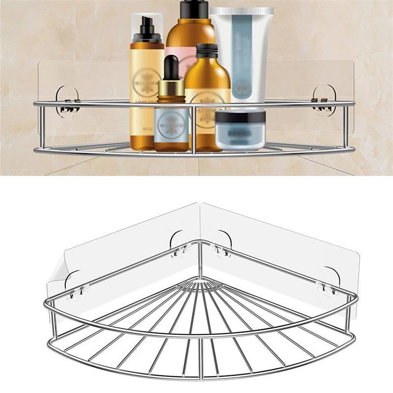 Wand Bad Dreieck Ecke Lagerung Regal Shampoo Seife Kosmetik Halter Mit Haken Kleiderbügel Bad Lagerung Rack Badezimmerarmaturen