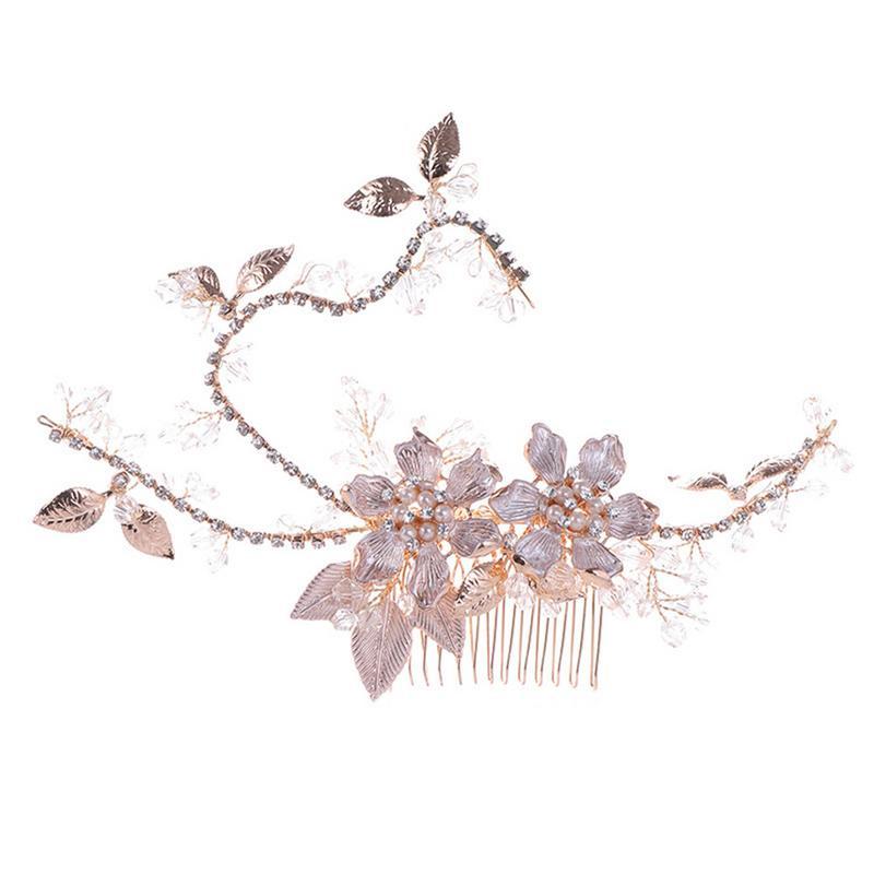 Гребень для волос невесты лист цвета розовое золото ручная работа пресноводный