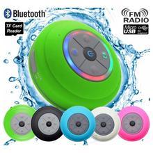 Водостойкая bluetooth-колонка со светодио дный лампой на присоске Беспроводная ванная Автомобильная Колонка для мобильного телефона Поддержка Hands-Free Data Card