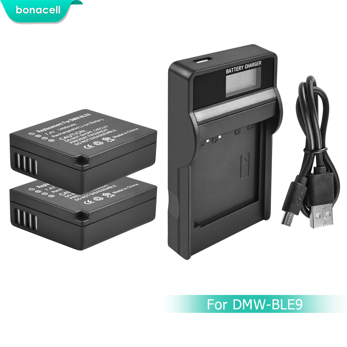 Bonacell DMW-BLG10 DMW BLG10 DMW-BLE9 Camera Battery+LCD Charger for Panasonic DMC GF6 GX7 GF3 GF5 DMW-BLG10GK LX100 GX80 L10