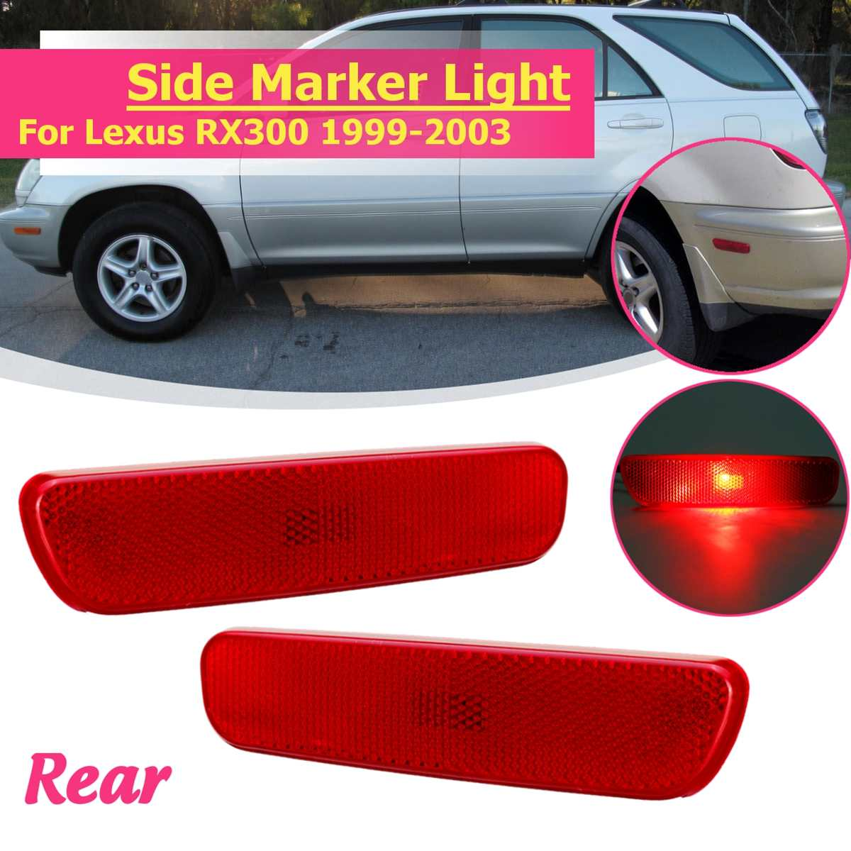 Rear Left Right Side Bumper Turn Signal Marker Light Lamp Yellow Red Lamp For 1999 2000 2001 02 2003 For Lexus RX300 81760-48010