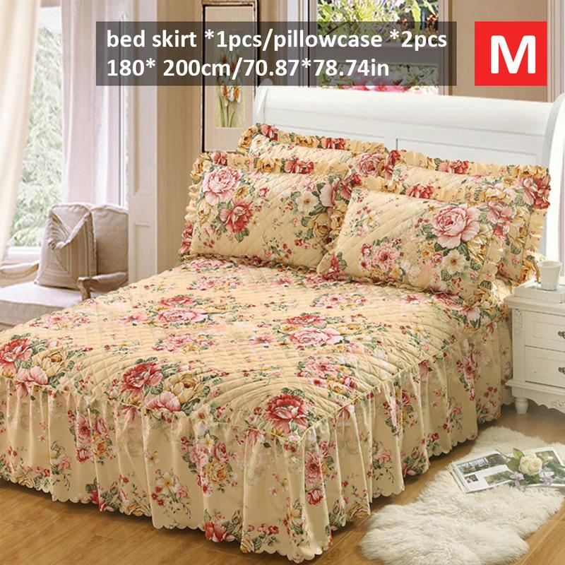 Bedspread fashion europe korea style cubrecama Winter Floral Print Quilted Thickened bed spread 150 200CM and