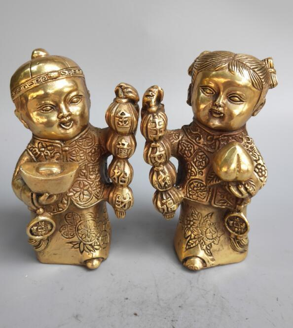 Chinese pure brass golden boy and jade girl wealth statueChinese pure brass golden boy and jade girl wealth statue