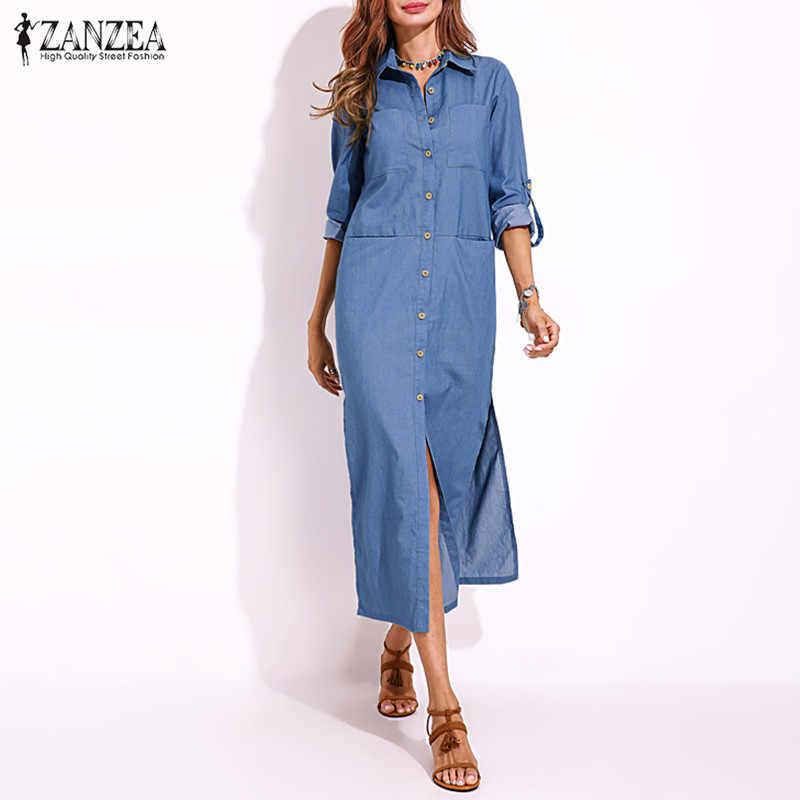 a6c4f774 ZANZEA Women's Sundress Shirt Dresses 2019 Kaftan Button Down Maxi Vestidos  Female Split Jeans Party Robe