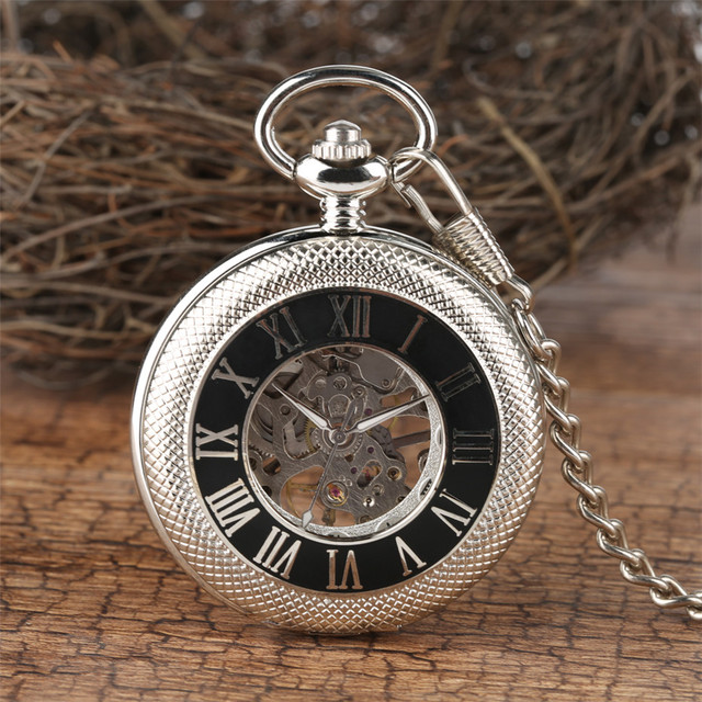 Classic Roman Numerals Mechanical Pocket Watch High Quality Hand-Wind Pendant Wa