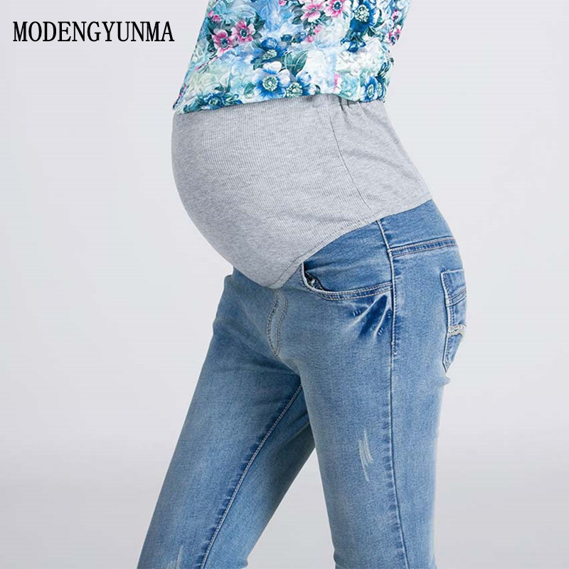 M-3XL Elastic Waist Maternity Jeans Pants For Pregnancy Clothes For Pregnant Women Legging Spring 2018 Maternity New