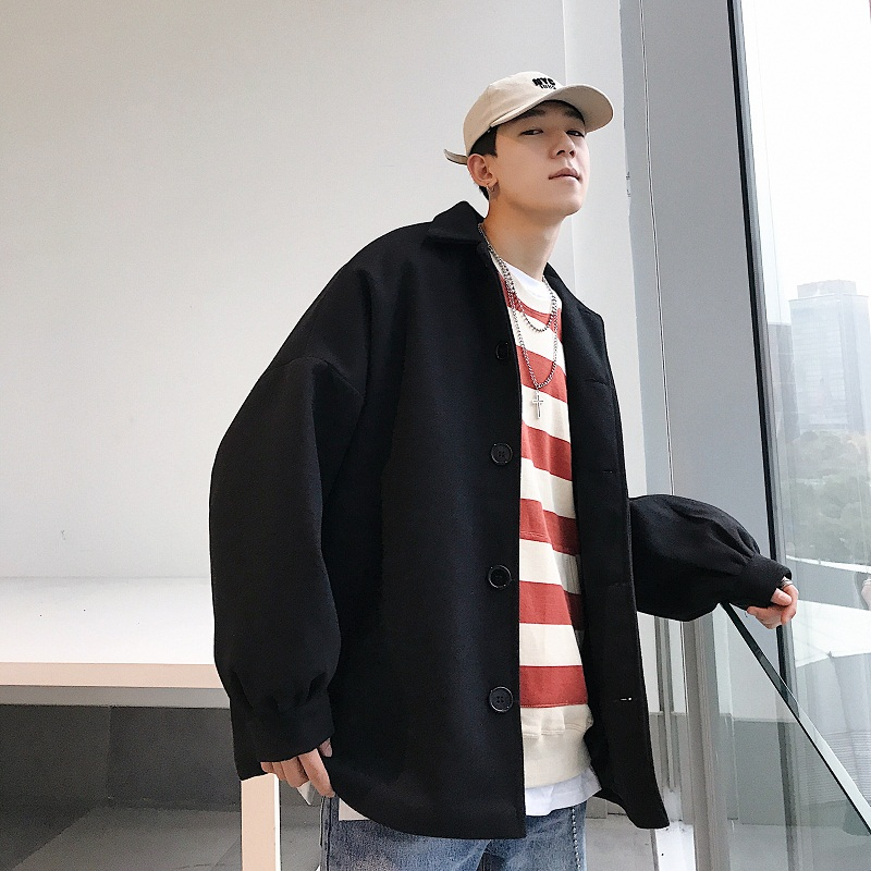 Winter New Men's Woolen Coat M-XL Solid Color Jacket Youth Wild Simple Fashion Long Sleeve Personality Lapel Plus Cotton Loose