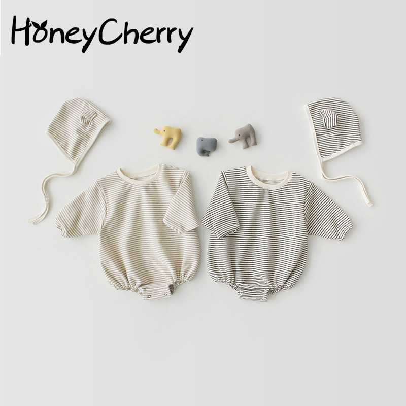 2020 Baby Romper With Lovely Stripes Small Ears Caps Hats Pure Cotton Two-piece Climbing Suit Baby Girl Clothes