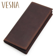 купить Vesna Mens Long Crazy Horse Leather Leather Wallets Men Genuine Leather Wallet Clutch Vintage Male Purse Leather Purse Wallets по цене 941.8 рублей