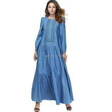 Women Muslim Dress Abaya Dubai Plus Size Islamic Clothing Kaftan Pakistan  Turkish Moroccan Embroidery Robe Denim 155a8854e2c5