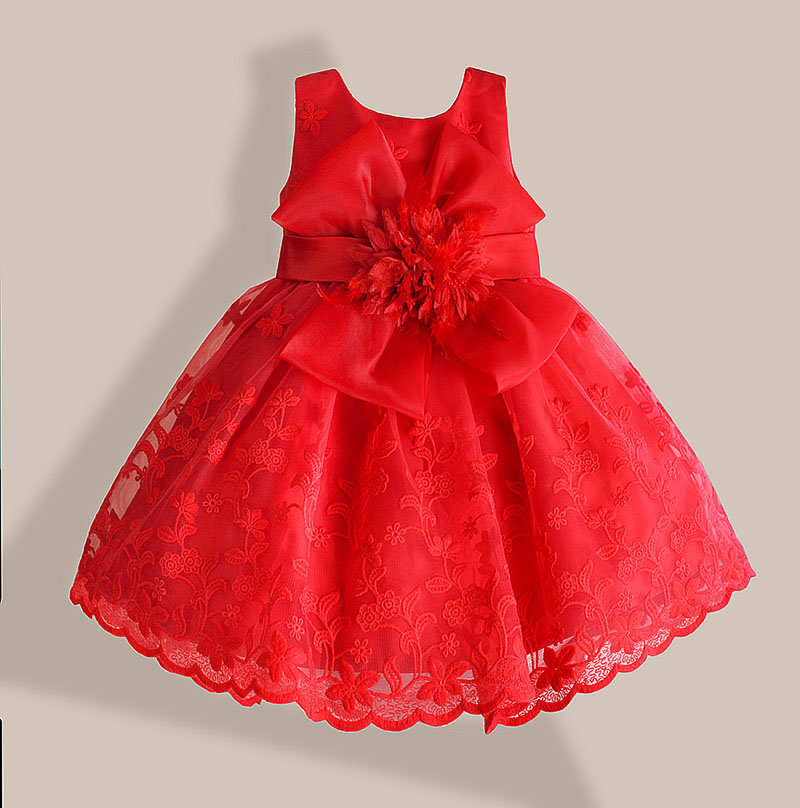 Julen Baby Girl Dress Röd Blond Flower Broderi Barn Klänningar för Flickor Party Dress Vestido Infantil 1-6 år