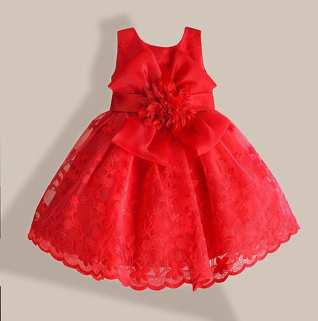 Navidad Bebé Niña Vestido Rojo Encaje Flor Bordado Niños
