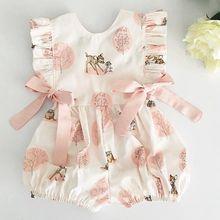 Г. Модная летняя одежда для маленьких девочек; Милый хлопковый Мягкий комбинезон с оленями и цветами; комбинезон для новорожденных; детская одежда