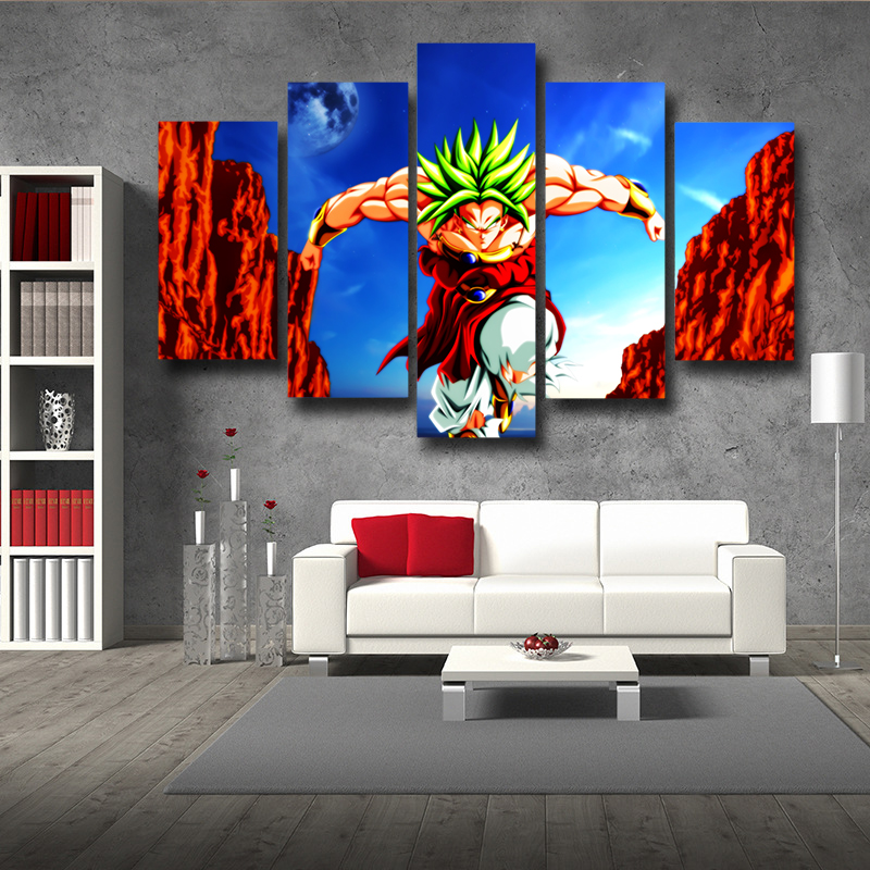 Us 24 0 Anime Character Canvas Wall Art Pictures Frame Home Decor Living Room Dragon Ball Z Broli Night Poster 5 Pieces Hd Art Pictures In Painting