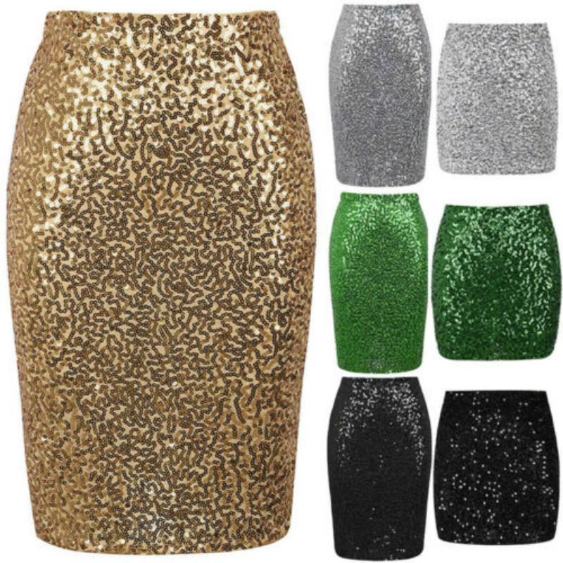 Womens Skirts Solid Color Sequined Mini Skirt Bodycon Pencil Skirt Short Sexy Fashion Wrap Skirt For Office Lady Party Girl