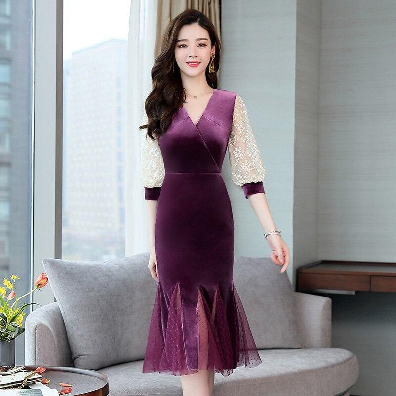 5e79ee59a7 Robe Vert Nouveau Dentelle 5807 V Solide Pour Mode Taille Violet Tendance  cou Printemps Femme Pleine Robes ...