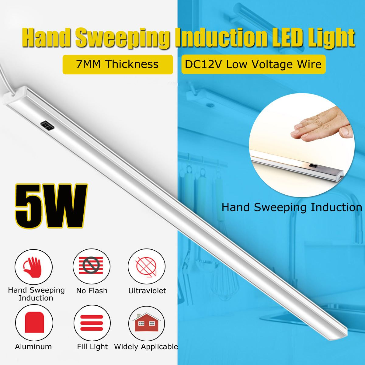 24 LED 5 W détecteur de mouvement LED lumière main balayage interrupteur contrôle applique 40 cm LED sous meuble cuisine placard étude bureau lumière